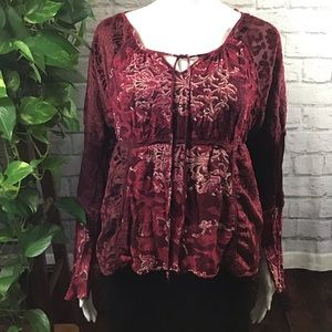 Red & gold peasant top size medium